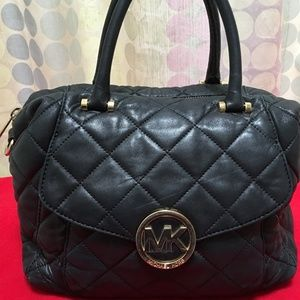 MICHAEL KORS Fulton Quilted Black Leather Satchel